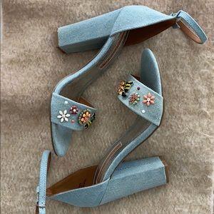 Denim Print Heels